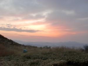 福智山頂から見る夕焼けの画像