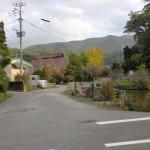 砥上神社前の池と小道の画像