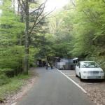 市房神社直下の市房山登山口と駐車場の画像