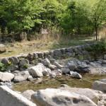 天の岩戸、西京橋の登山道入口の渡渉地点の画像