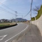 長浜海岸沿いの車道から見る柑子岳の画像