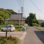 西運寺駐車場まえの県道34号線から蕗岳登山口に入る個所の画像