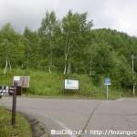 県道480号線沿いの群生地前バス停前のT字路