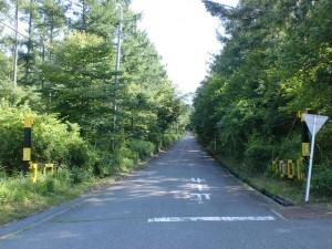 八ケ岳高原ラインから観音平方面に続く林道入口のゲートの画像