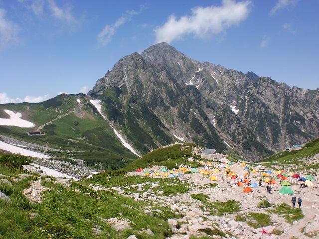 剱沢キャンプ場からみる剱岳の画像