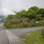 陸上自衛隊別府駐屯地南側の堺川沿いの林道に入る個所
