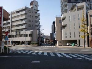 長崎街道小倉城下の安国寺入口の大通り付近の画像