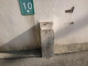 長崎街道清水口門跡横の善龍寺手前の旧陸軍の境界票の画像