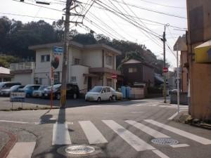 長崎街道小倉城下の法輪寺手前の変則交差点の画像