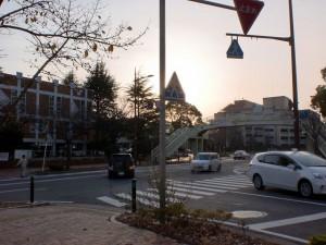 八幡図書館前の車道の画像