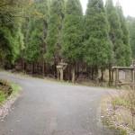 国道498号線の旧道にある栗ノ木峠の八天岳登山口(林道入口)分岐地点の画像