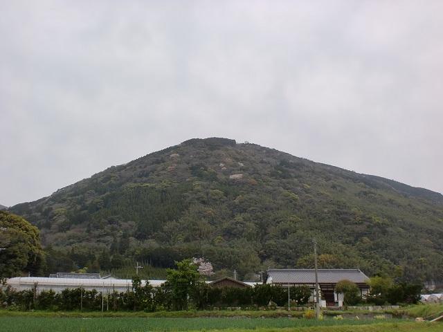 玉島川側から見る城山(唐津市)の画像