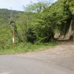 小路池の横にある龍王山の登山道入口となる林道入口の画像