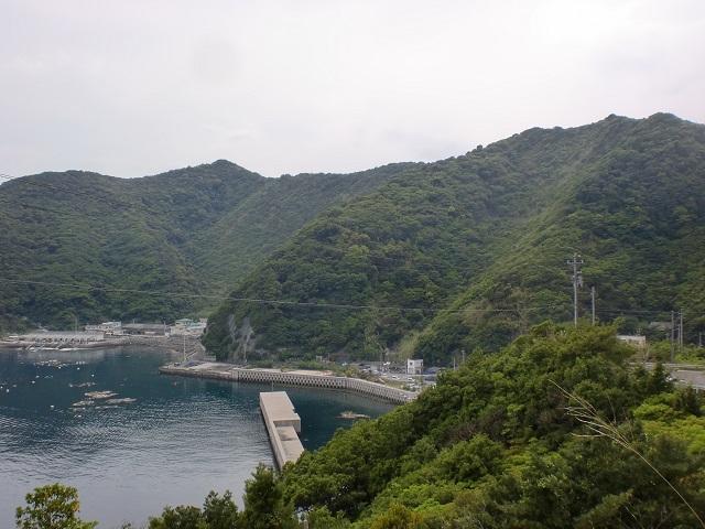 由良山登山口から見る由良山の尾根と網代の漁港の画像
