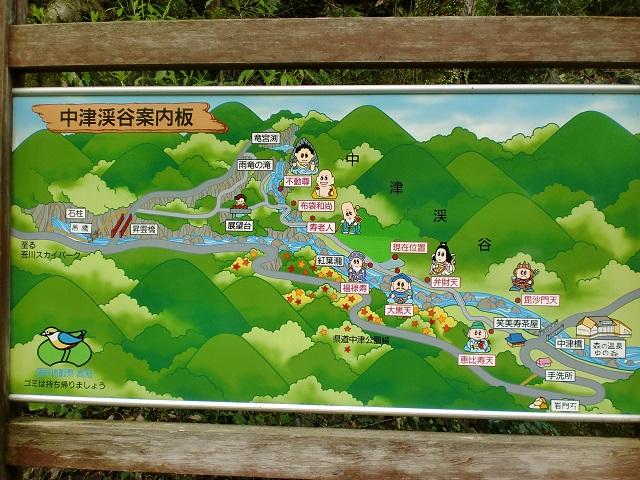 中津渓谷の案内板の画像