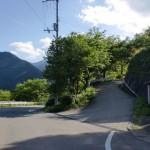 旧中津小学校前(久万高原町)のしだれ桜に行く坂道の入口の画像