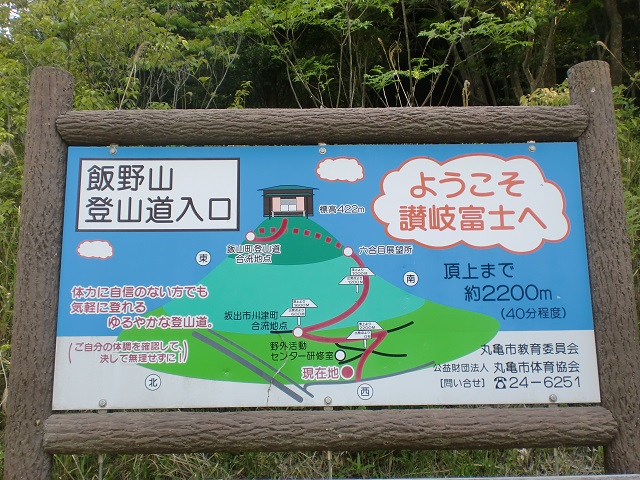 飯野山登山口(野外活動センター側)に立てられている登山道の案内板