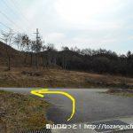 大原上バス停の少し上で別荘地への小道が広めの車道に出たところ