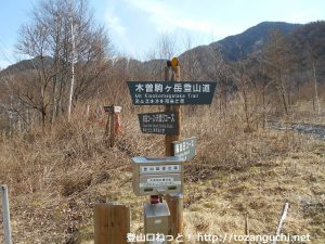 木曽駒ヶ岳のコガラ登山口の分岐に設置されている道標