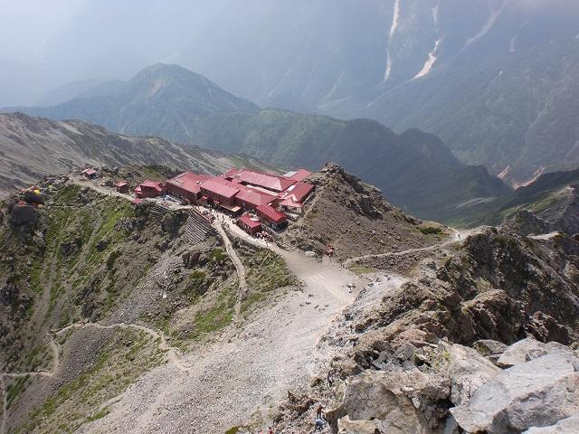 槍ヶ岳山頂から見下ろす槍ヶ岳山荘