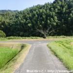 中笠野バス停のそばにある辻を左に入って川にぶつかるT字路のところ