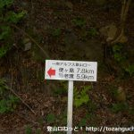 易老渡・便ヶ島に行く途中の発電所から易老渡・便ヶ島までの距離を示す道標