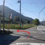 神姫バスの十倉バス停横のT字路