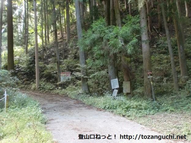 根古峰の登山道入口(越ヶ滝キャンプ場側)