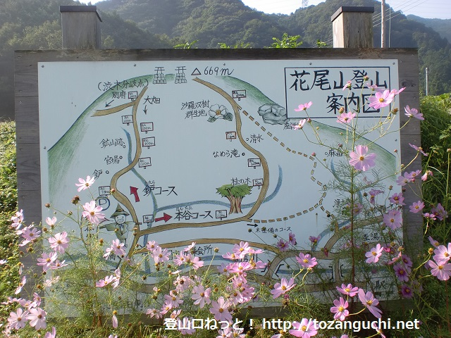 花尾山の登山口に立てられている登山道の案内板