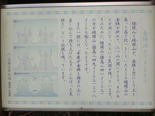 雄岡山・雌岡山・金棒池の由来についての案内板