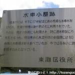 六甲山の登山口となる五助堰堤(五助ダム)への入口分岐にある水車小屋跡の説明板