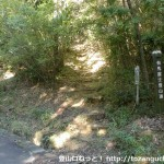 有馬富士公園の入口から芝生広場に行く途中にある有馬富士の登山道入口