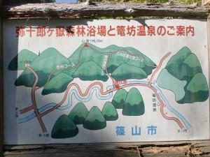 籠坊温泉コースの入口に立てられている登山ルートの案内板
