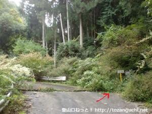 大岩谷林道の車止めゲートの少し先にある七越峠の登り口前
