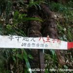 孝子の森への林道入口にある「孝子越え・八王子峠」を示す道標