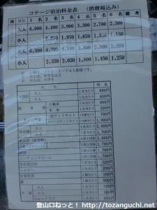 ヤマセミ温泉とキャンプ場の各利用料金表