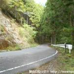 牛馬童子口バス停から熊野古道に入り、いったん車道に出るところ