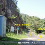 行者山の登山口となる錦龍ノ滝と大鉢山・中四郎山の林道地点分岐