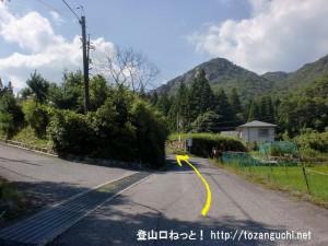 河平連山登山口に行く途中の最期の分岐地点(直進)