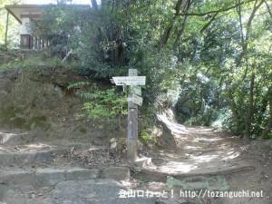 慈眼寺(飯盛山登山口)裏手の「吊り橋道」と「野崎城跡道」の登山道分岐地点