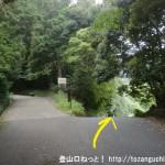 當麻寺から祐泉寺に行く途中の養魚池前の林道分岐