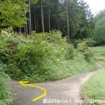 小鹿野集落の奥にある鳥見山公園の登山道入口(鳥見山登山口・東海自然歩道入口)