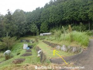 十八神社の左下にある額井岳への登山道の入口