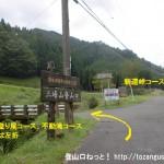 御杖村の青少年旅行村と不動滝への分岐T字路