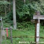 五番関トンネル西口にある五番関(大天井ヶ岳・山上ヶ岳)への登山道入口