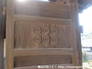 真田庵の六文銭を入れた門の扉