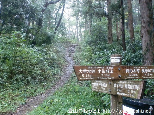 三沢峠に設置された登山道を示す道標