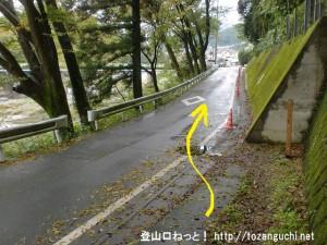 あきる野市の阿伎留神社南側の登山道のような小路を下って車道に出たところ