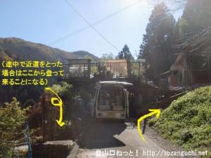 槇寄山・(笹尾根の西原峠)の登山口にある民家前