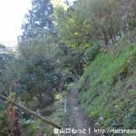 槇寄山・(笹尾根の西原峠)の登山口にある民家の裏側の登山道